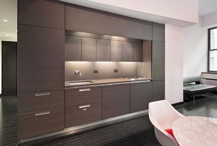 Contemporary Kitchen with Casement, Breakfast nook, stone tile floors, Window seat, Undermount sink, Concrete counters, Flush
