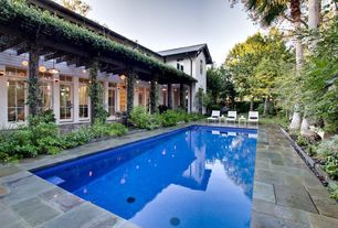Modern Swimming Pool with Transom window, exterior stone floors, Lap pool, Raised beds, Trellis, Casement, French doors