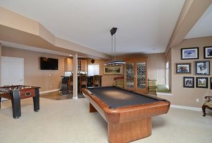 Traditional Game Room with Pendant light, Carpet