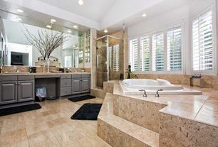 Modern 3/4 Bathroom with Simple granite counters, Rain shower, Built-in bookshelf, complex granite floors, Flush