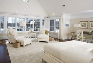 Contemporary Master Bedroom with Cathedral ceiling, Transom window, Carpet, Oly Studio Coral Side Chair, Hardwood floors