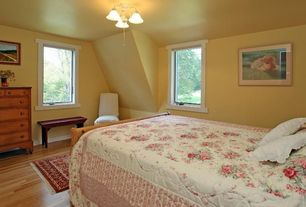 Country Guest Bedroom with Hardwood floors, Box ceiling, Laminate floors, flush light