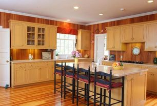 Eclectic Kitchen with Crown molding, six panel door, can lights, Breakfast bar, Standard height, Casement, Inset cabinets