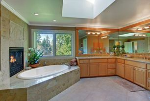 Craftsman Master Bathroom with Double sink, specialty door, Raised panel, MS International Golden Beaches Limestone, Skylight