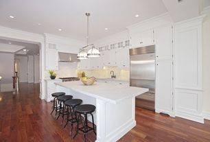 "Traditional Kitchen with Clemson prismatic double pendant - polished nickel (18""), Crown molding, Carrara marble countertop"