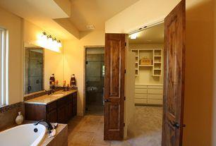 Rustic Full Bathroom with Simple granite counters, Simple Marble, Kohler - Refinia Bath Faucet, flush light, Carpet
