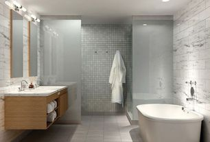 Contemporary Full Bathroom with Frameless, wall-mounted above mirror bathroom light, Undermount sink, European Cabinets