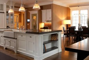 Traditional Kitchen with Ms International  Carrara White Marble, Brooks Custom Wide Plank Wood Countertops, Crown molding