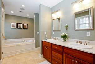 Traditional Master Bathroom with Moen Kingsley 8 in. Widespread 2-Handle Bathroom Faucet, Simple granite counters