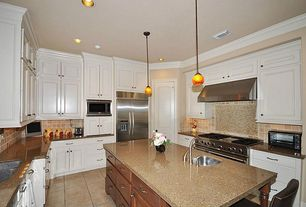 Traditional Kitchen with Stone Tile, Flat panel cabinets, Simple granite counters, U-shaped, Inset cabinets, Pendant light