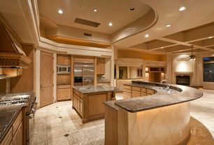 Mediterranean Kitchen with Transom window, Raised panel, Pental ivory classic honed/filled travertine, Simple Granite