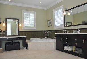 Contemporary Full Bathroom with Simple marble counters, Vinyl floors, Master bathroom, European Cabinets, Undermount sink