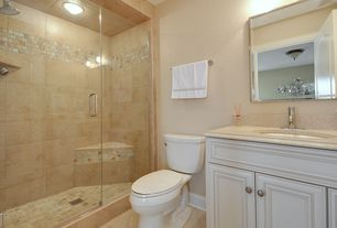 Traditional 3/4 Bathroom with Flush, Undermount sink, specialty door, Simple granite counters, Raised panel, flush light
