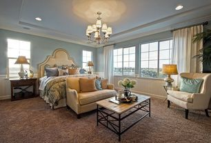 Traditional Guest Bedroom with Carpet, specialty window, Wainscotting, can lights, Standard height, Chandelier, Crown molding