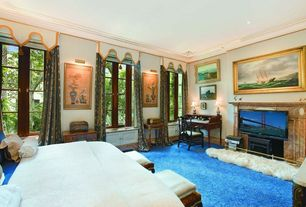 Eclectic Master Bedroom with Built-in bookshelf, Casement, Standard height, can lights, French doors, Wainscotting, Carpet