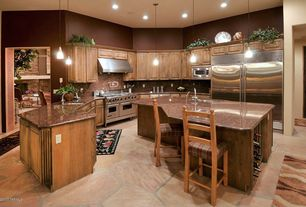 Country Kitchen with Simple Granite, Pendant light, Pot filling faucet, sandstone floors, Kitchen island, High ceiling