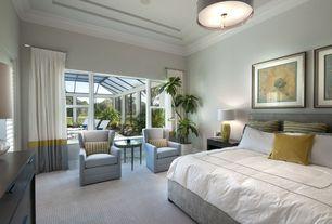 Contemporary Master Bedroom with flush light, Crown molding, Carpet, Pottery barn linen drum pendant light