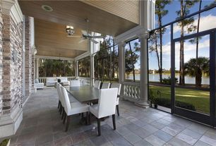 Modern Porch with Pond, Screened porch, exterior stone floors