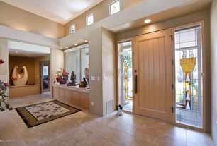 Eclectic Entryway with High ceiling, Stained glass window