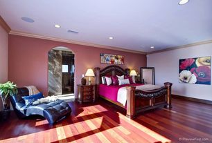 Eclectic Master Bedroom with Hardwood floors, can lights, specialty door, Standard height, Crown molding