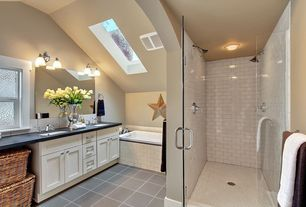 Modern Master Bathroom with Flat panel cabinets, frameless showerdoor, Undermount sink, Soapstone counters, Skylight