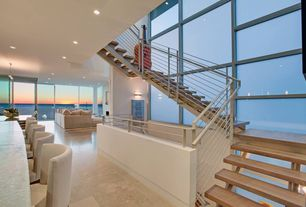Contemporary Staircase with Floating staircase, High ceiling, specialty door, French doors, Hardwood floors