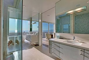 Contemporary Full Bathroom with Oregon Tile & Marble ool Tile Nieve Color Blends Piscis, frameless showerdoor, Vinyl floors