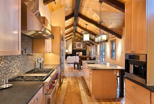Craftsman Kitchen with Built In Refrigerator, Simple granite counters, Cathedral ceiling, Kitchen island, Breakfast nook