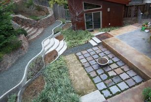 Rustic Patio with Raised beds, exterior tile floors, Fence