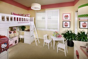 Modern Kids Bedroom with Carpet, Pendant light, Bunk beds