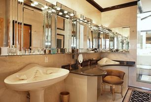 Art Deco Full Bathroom with Powder room, Simple marble counters, Pedestal sink, Simple Marble, Crown molding