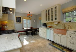 Country Kitchen with Custom hood, dishwasher, electric cooktop, can lights, Glass panel, Farmhouse sink, Large Ceramic Tile