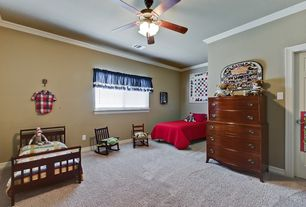 Country Kids Bedroom with flush light, Ceiling fan, Crown molding, Carpet