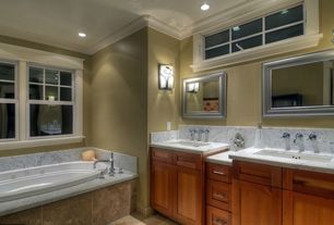 Craftsman Master Bathroom with Flush, bathroom sink, Double sink, Bathtub, Transom window, Simple marble counters, can lights