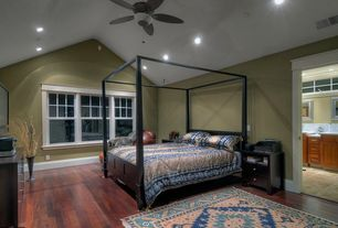 Eclectic Guest Bedroom with Hardwood floors, Ceiling fan, Wainscotting, flush light