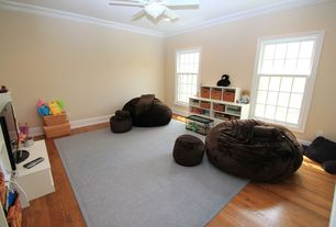 Modern Playroom with Ceiling fan, can lights, double-hung window, Standard height, Crown molding, Carpet, Hardwood floors