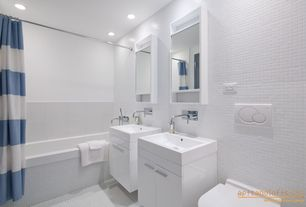 Contemporary Full Bathroom with drop in bathtub, Double sink, mini can lights, Wall Tiles, can lights, drop-in sink