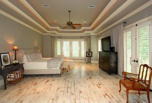 Traditional Master Bedroom with Crown molding, Painted hardwood floor, Pottery Barn DAWSON EXTRA-WIDE DRESSER, Ceiling fan