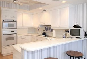 Cottage Kitchen with Paint, Crown molding, Eaton Stripe Dove Grey/Seaspray Blue, can lights, wall oven, U-shaped, gas range