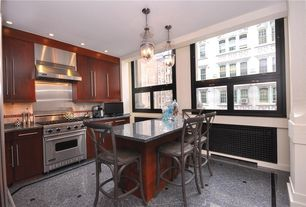 Contemporary Kitchen with Paint, Standard height, full backsplash, Simple granite counters, picture window, Casement, Flush
