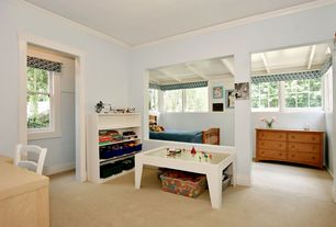 Cottage Playroom with Max 4 shelf bookcase, Little Colorado Handcrafted Play Table, Crown molding, Carpet, High ceiling
