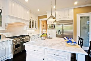 "Traditional Kitchen with White subway tile 3x6 glossy, High ceiling, Crown molding, Viking - 48"" gas range - vgcc"