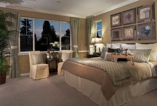 Contemporary Guest Bedroom with Halyard Mineral Fabric By the Yard, Carpet, Paint 1, Paint 2, Standard height, Casement