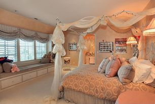 Traditional Guest Bedroom with Carpet, picture window, bedroom reading light, Built-in bookshelf, Standard height, can lights