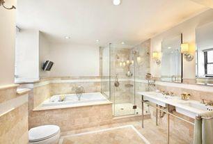 Traditional Master Bathroom with Bronze cabinet hardware, Arizona tile, salem grey tumbled lyon pattern, natural stone
