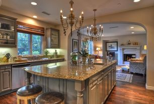 Traditional Kitchen with can lights, dishwasher, Simple granite counters, One-wall, Hardwood floors, Breakfast bar, Casement