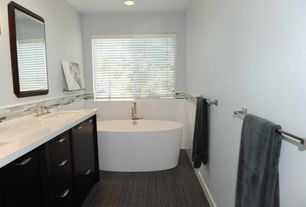 Contemporary Master Bathroom with Inset cabinets, Undermount sink, Double sink, Stone Tile, Master bathroom, Quartz counters