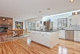 Traditional Kitchen with Maple - Country Natural 2 1/4 in. Solid Hardwood Strip, One-wall, Kitchen island, Skylight
