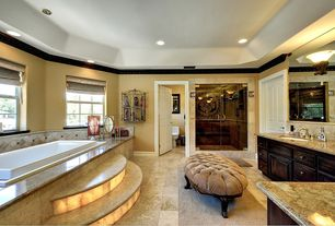 Eclectic Master Bathroom with frameless showerdoor, specialty door, Complex granite counters, Master bathroom, Raised panel