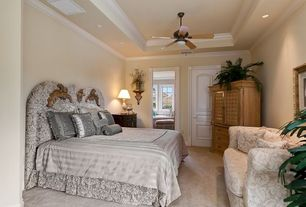 Eclectic Guest Bedroom with flush light, Ceiling fan, Carpet